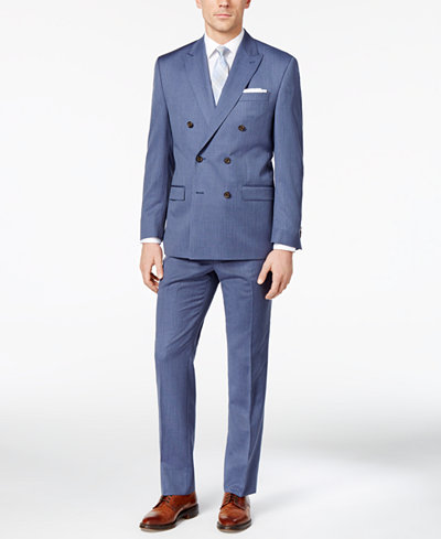 Lauren Ralph Lauren Men's Classic-Fit Blue Pinstripe Double ...