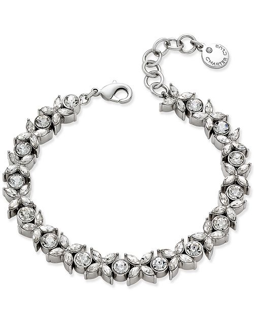 Charter Club Silver-Tone Crystal Link Bracelet, Created for Macy's