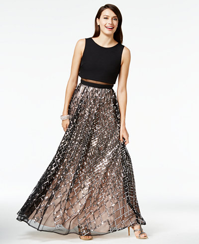 Say Yes to the Prom Juniors' Sequined Illusion Popover ...