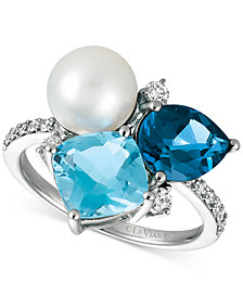 Le Vian® London Blue Topaz (1-3/4 ct. t.w.), Blue Topaz (2-1/3 ct. t.w.), Cultured Freshwater Pearl (9mm) and Diamond (1/4 ct. t.w.) Ring in 14k White Gold