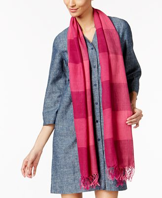 Eileen Fisher Organic Linen-Cotton Striped Fringe Scarf