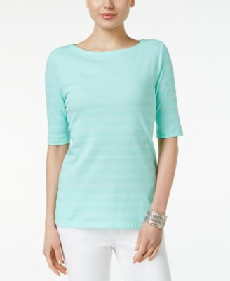 Image of Charter Club Elbow-Sleeve Textured Top, Only at Macy's