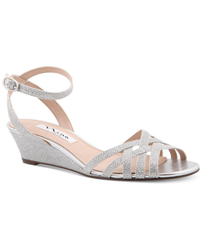 Nina Faria Strappy Wedge Evening Sandals Sandals Shoes