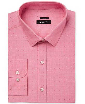Bar III Men's Slim-Fit Stretch Easy Care Coral Dot Dobby Dress ...