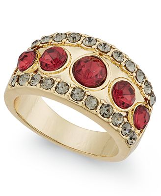 INC International Concepts Gold-Tone Pavé Red Stone Ring, Only at Macy's