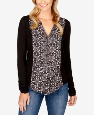 Lucky Brand  PRINTED HENLEY TOP