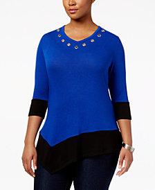 Belldini Plus Size Asymmetrical Colorblocked Top
