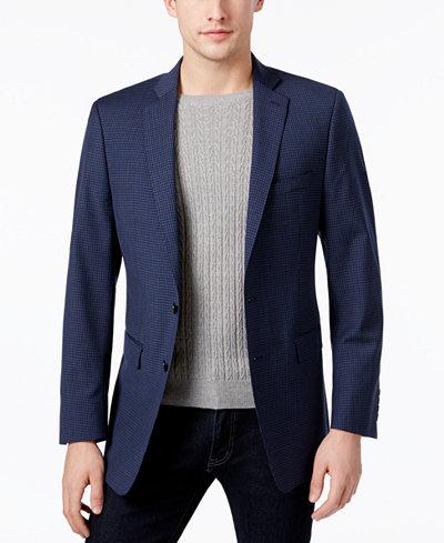 Calvin Klein Men's Slim-Fit Blue/Black Mini-Grid Sport Coat ...