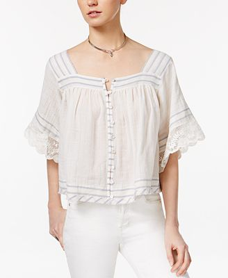 Free People See Saw Crochet-Contrast Top