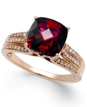 Effy Garnet (3-1/4 ct. t.w.) and Diamond (1/5 ct. t.w.) Ring in 14k Rose Gold