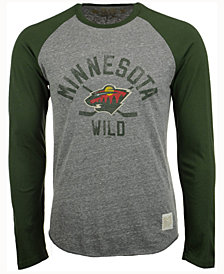 Retro Brand Men's Minnesota Wild Sticks Raglan Long Sleeve T-Shirt