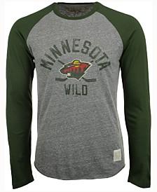 Retro Brand Men's Minnesota Wild Sticks Raglan Long Sleeve T-Shirt