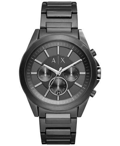 A X Armani Exchange Men's Chronograph Black Stainless Steel Bracelet Watch 44mm AX2601