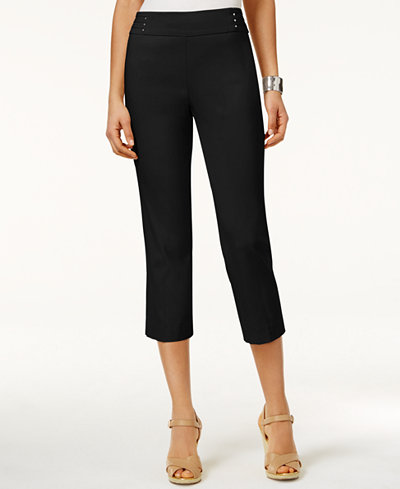JM Collection Petite Rivet-Detail Tummy Control Capri Pants, Created for Macy's