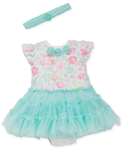 Little Me 2-Pc. Floral-Print Tutu Popover Dress & Headband Set, Baby Girls (0-24 months)