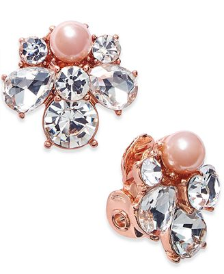 Charter Club Rose Gold Tone Crystal And Pink Imitation Pearl Cluster