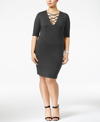 Soprano Trendy Plus Size Lace-Up Dress
