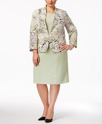 Kasper Plus Size Mosaic-Print Blazer & Sheath Dress