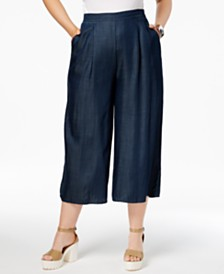 Wide Leg Women's Plus Size Pants - Macy's