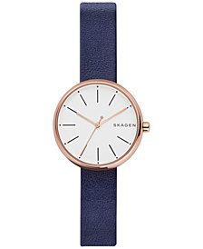 Skagen Women's Signature Navy Leather Strap Watch 30mm SKW2592