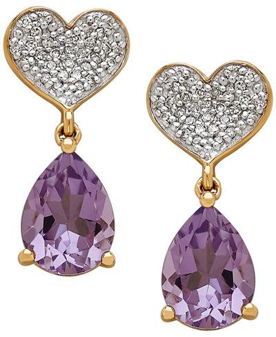 Amethyst (1-9/10 ct. t.w.) & Diamond (1/8 ct. t.w.) Heart Drop Earrings in 10k Gold