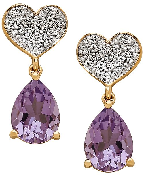 Macy's Amethyst (1-9/10 ct. t.w.) & Diamond (1/8 ct. t.w.) Heart Drop Earrings in 10k Gold
