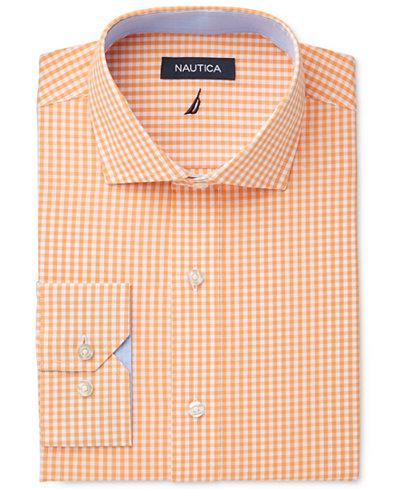 nautica men 39 s classic fit apricot gingham dress shirt