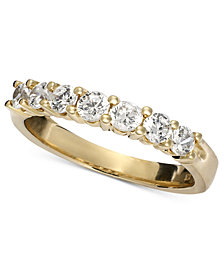 Seven Diamond Band Ring in 14k Yellow or White Gold (3/4 ct. t.w.)