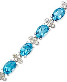 Sterling Silver Bracelet, Blue Topaz (14-1/2 ct. t.w.) and Diamond Accent