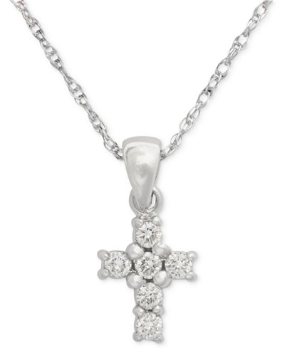 Cross Diamond Pendant Necklace in 14k White or Yellow Gold (1/8 ct. t.w.)
