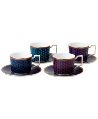 Byzance Collection Set of 4 Accent Teacups and Saucers