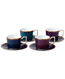 Wedgwood Byzance Collection Set of 4 Accent Teacups and Saucers