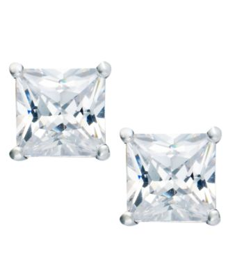 Giani Bernini Cubic Zirconia Square Stud Earrings 2 Ct T W In 18k Gold Over Sterling Silver Created For Macy S Jewelry Watches
