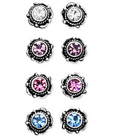 Sterling Silver Earrings, Multicolor Cubic Zirconia Bali Studs Set of Four