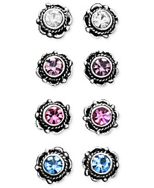 Unwritten Sterling Silver Earrings, Multicolor Cubic Zirconia Bali Studs Set of Four