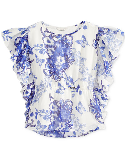 GUESS Floral-Print Chiffon Top, Big Girls (7-16)