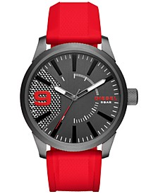 Men's Red Silicone Strap Watch 46x53mm DZ1806