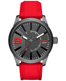 Diesel Men's Red Silicone Strap Watch 46x53mm DZ1806
