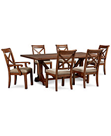 Mandara Rectangle Furniture, 7-Pc. Set (Dining Trestle Table, 4 X-Back Side Chairs & 2 X-Back Arm Chairs)