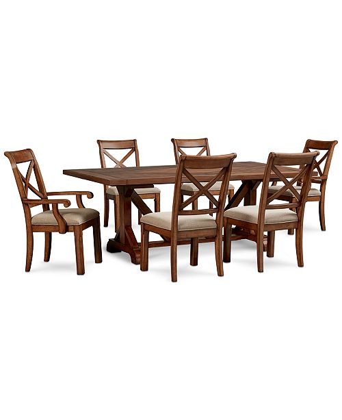 Excellent Mandara Rectangle Furniture 7 Pc Set Dining Trestle Table 4 X Back Side Chairs 2 X Back Arm Chairs Andrewgaddart Wooden Chair Designs For Living Room Andrewgaddartcom