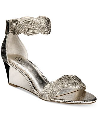 Adrianna Papell Adelaide Ankle Strap Wedge Evening Sandals ...