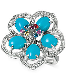 Le Vian® Robin's Egg Turquoise™ (4-9/10 ct. t.w.) and Multi-Sapphire (5/8 ct. t.w.) Flower Ring in 14k White Gold