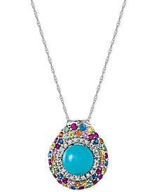 Le Vian® Robin's Egg Turquoise™ (3-1/10 ct. t.w.) and Multi-Sapphire (1 ct. t.w.) Pendant Necklace in 14k White Gold