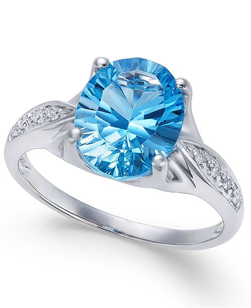 Macy's Blue Topaz (3 ct. t.w.) and Diamond Accent Ring in 14k White Gold