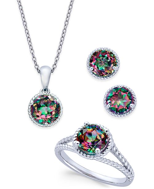 2b9d78f0bb1 Macy's Mystic Quartz Rope-Style Pendant Necklace, Stud Earrings and Ring  Set (4
