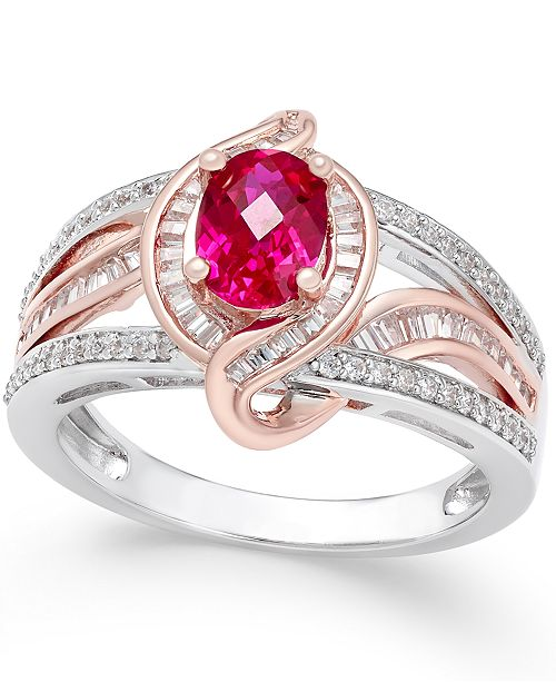 Macy's  Certified Ruby (1 ct. t.w.) and Diamond (1/2 ct. t.w.) Two-Tone Statement Ring in 14k White and Rose Gold