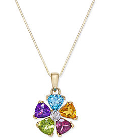 Multi-Gemstone (2-5/8 ct. t.w.) and Diamond Accent Pinwheel Pendant Necklace in 14k Gold