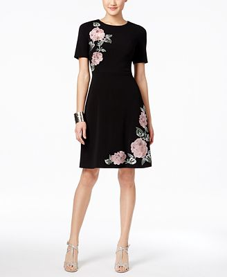 JAX Elbow-Sleeve Floral-Appliqué Dress