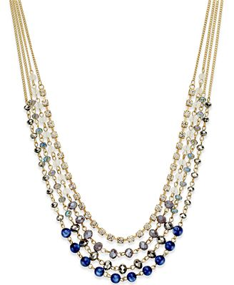 INC International Concepts Gold-Tone Multi-Bead Multi-Row Necklace, Only at Macy's