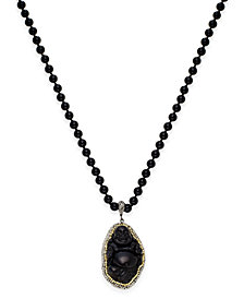 Paul & Pitü Naturally Gold-Tone Pavé Black Bead and Buddha Pendant Necklace